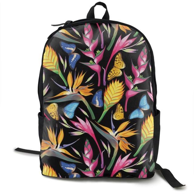 シューズ バッグ バッグ スーツケース メンズバッグ 蝶 花 植物 リュックバックパック タウンリュック ビジネスリュック学生 通学 通勤 男女兼用 スクールバックパック ブラック
