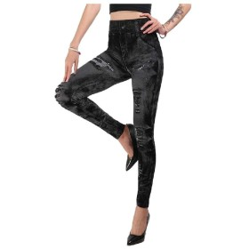 EnergyWD Womens Jeggings Tenths Pants Butt Lift All Colors Yoga Pants Dark Grey L