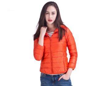 ダウンジャケット レディース 軽量 ショート 暖かい ウルトララ イト コンパクト収納 春秋冬 オレンジ M