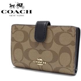 コーチ 二つ折り財布 レディース COACH Wallet シグネチャー カーキ/ブラック F23553 IMCBI