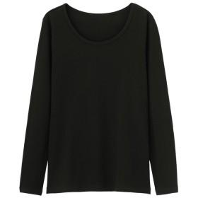 (GU)GUウォームコットンブレンドクルーネックT(長袖)(エクストラ) BLACK XL