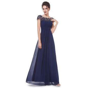Ever Pretty レディース セクシーバックオーペン デザイン ロングドレス ワンピース 結婚式 演奏会ドレスUS12 ネイビー EP09993NB12