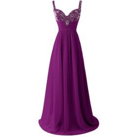 Dresstell(ドレステル) 二次会 花嫁ワンピース ビジュー付き ストラップ レディース 葡萄色 25w号