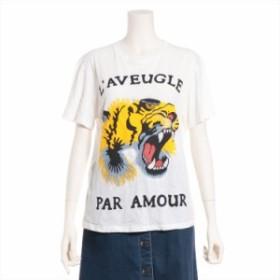 グッチ コットン Tシャツ サイズS レディース ホワイト レタリング タイガー