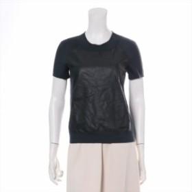 エルメス シルク Tシャツ サイズ36 レディース グリーン レザー