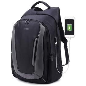 YIKETING 旅行用バックパック男性用USB充電穴付きコンピューターバックパック (色 : 黒, サイズ : 17.3)
