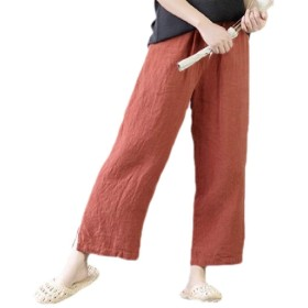 maweisong Women Summer Stylish High Waist Cotton Linen Wide Leg Long Pants Red XL
