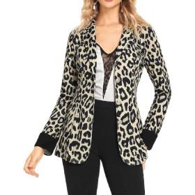 EnergyWD Women Leopard Print Lapel Long-Sleeve Work Autumn Winter Small Blazer White M