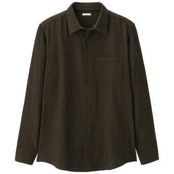 (GU)フランネルチェックシャツ(長袖)BCL+E DARK BROWN XS