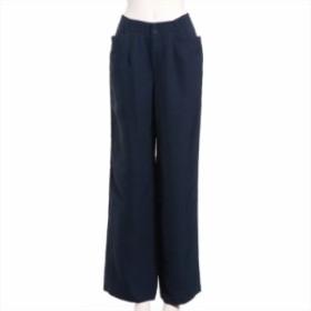 イッセイミヤケ トリアセテート パンツ サイズ2 レディース ネイビー