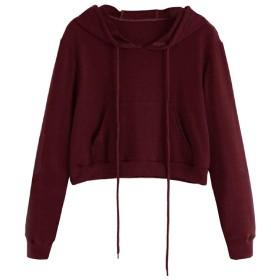 YAXINHE Women Sweatshirts Outwear Long Sleeve Casual Crop Top Hoodie Coat Wine Red S