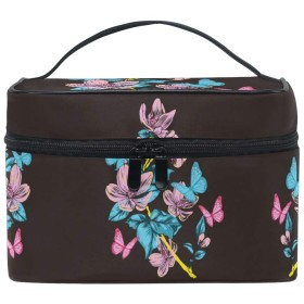 ダークピンクフラワーバタフライ化粧品袋オーガナイザージッパー化粧バッグポーチトイレタリーケースガールレディース