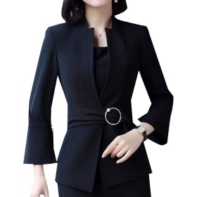 Tootess 女性スタンドカラーブレザートランペットスリーブスモックウエストスーツコート Black M