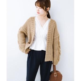 ハコ アウターがわりに着られる 手編みのざっくりニットカーディガン レディース ベージュ 2 【haco!】