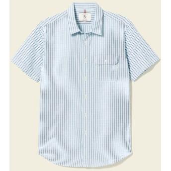AIGLE メンズ メンズ コットンストライプシャツ半袖 ZCH3155 Blue (001) シャツ・ポロシャツ