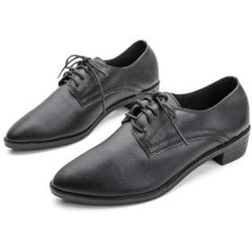 [JGFI] レースアップシューズ エナメル オックスフォードシューズ フォーマル 歩きやすい カジュアル 太ヒール 安定感 履き心地 ブラック 通気性 フィット レディース マニッシュ 25.0cm ローファー 革靴 大きいサイズ おじ靴 マニッシュシューズ
