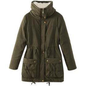 Elonglin レディース 中綿コート アウター ミリタリー ロングコート カジュアル エレガント 防寒 冬服 暖かい 裏ボアコート 大きいサイズ 全10色