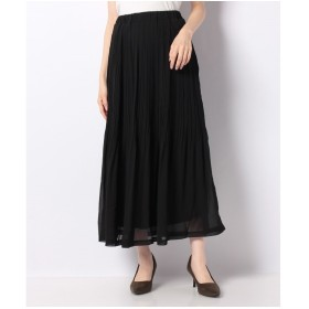 Ranan シフォンプリーツマキシスカート(ブラック)
