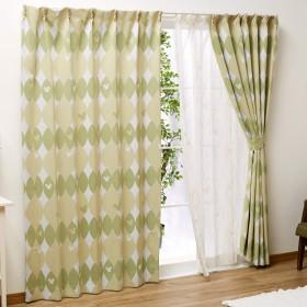 Disney(ディズニー) ミッキー 北欧風 2級 遮光 カーテン レースカーテン 4枚セット グリーン 幅100x135cm丈 [SB-422]
