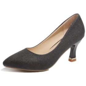 [NJI] ポインテッドトゥ パンプス レディース 靴 痛くない 歩きやすい 疲れない 脱げない 結婚式 靴 仕事 フォーマル ブラック 走れる ハイヒール ピンヒール 22.0cm ヒール