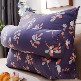 YQCS●LS リネンクッション大型枕、ヘッドレスト背もたれ三角形枕、ソファオフィスチェアリーディングベッドレスト枕。