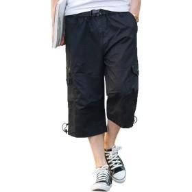 (グードコ) 夏 ワークパンツ メンズ 七分 カーゴパンツ 大きいサイズ ワイド ショートパンツ ポケット付き 半ズボン 薄手 ブラックL