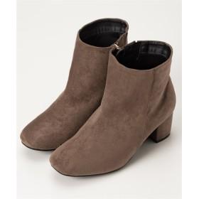 スクエアトゥチャンキーヒールショートブーツ(低反発中敷)(ワイズ4E) ブーツ・ブーティ