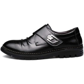 [Jusheng-shoes] メンズシューズ オックスフォードメンズローファーシューズメタル装飾付き本革フック&ループストラップステッチラウンドトゥスラウチヴァンプ滑り止め カジュアルシューズ (Color : ブラック, サイズ : 25 CM)