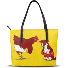 バッグ トートバッグ パンツを穿いている鶏とねこ 面白い ハンドバッグ ショルダーバッグ 革 収納 大容量 軽量 防水 盗難防止 誕生日 入学式 母の日 ビジネス 旅行 多機能