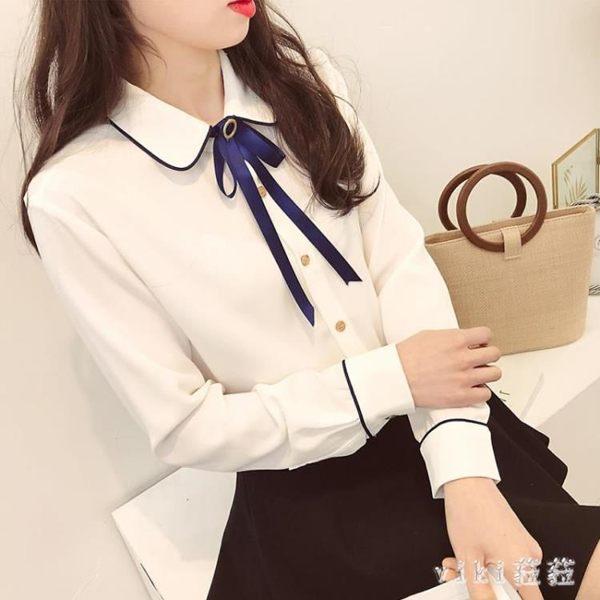 秋裝新款蝴蝶結大碼長袖雪紡衫女百搭氣質白襯衣修身上衣打底襯衫