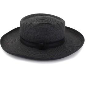 ZiWen Lu 無地の太陽帽子が付いている方法平たい帽の屋外の海辺のサンバイザーの弓装飾 (色 : 1, サイズ : 56-58CM)