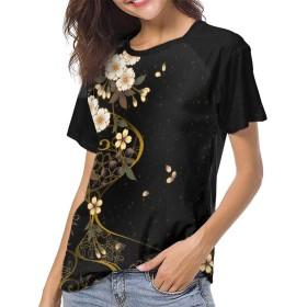 ベーシックTシャツ レディース 半袖 桜 花柄 和柄 シンプル カジュアル ショートスリーブカ クルーネック 快適 吸汗速乾 夏 ベースボールウェア
