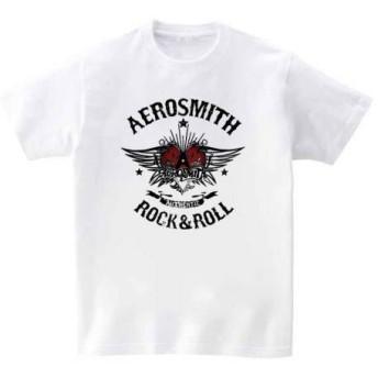 [10色]BANDLINE(バンドライン) Aero Smith エアロスミス バンド ロック パンク メタル 半袖Tシャツ ホワイト Lサイズ