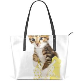 Akiraki トートバッグ おしゃれ かわいい レディース 大容量 メンズ ハンドバッグ バッグ 旅行 おもしろ ネコ 猫柄 靴 白 ホワイト 可愛い かわいい PU レザー 通勤 通学 ファスナー 軽量 防水 肩掛け 誕生日 プレゼント