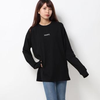 エックスガール X-girl MILLS LOGO L/S TEE (BLACK)