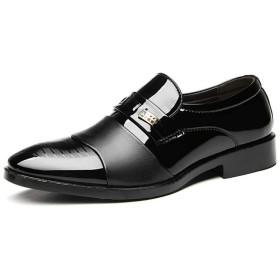 [ジョイジョイ] ビジネスシューズ メンズ レザー スリッポン ドレスシューズ 快適 スリップオン フラット 大きいサイズ エナメル 革靴 フォーマル ウェディング ポインテッドトゥ オックスフォード ブラック
