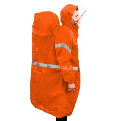 BLUEFIELD 專業登山連帽雨衣 登山背包雨衣 -橘 (M/XL 可選)