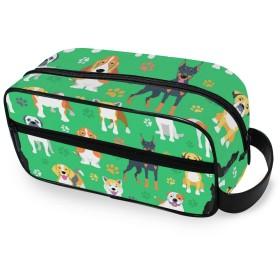 USAKI 化粧ポーチ 小物入れ 機能的 かわいい 犬 足跡柄 トラベルポーチ 大容量 おしゃれ コスメポーチ 化粧バッグ 化粧品収納 出張 旅行