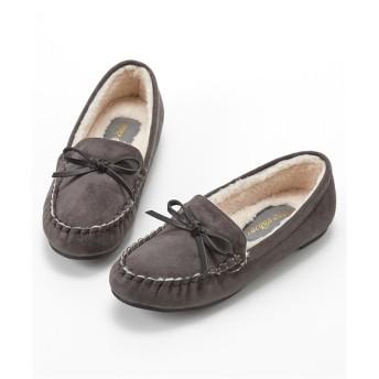リボン付フェイクファーモカシンシューズ(ワイズ3E) シューズ(フラットシューズ) Shoes, 鞋