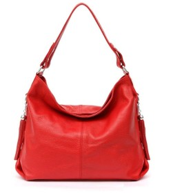 Manmeiyang 女性のハンドバッグ、ソフトレザータッセルショルダーバッグ財布サッチェル handbag for women (Color : 赤)