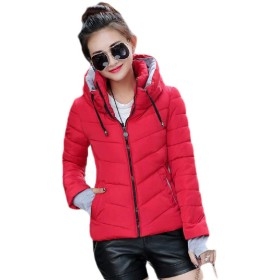VITryst Women's Winter Hooded Zip Pure Colour Slim Fitting Warm Parka Jacket Red L