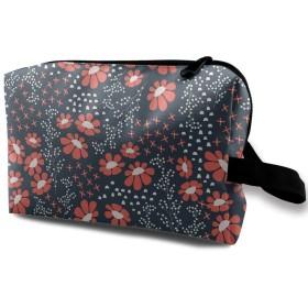 化粧ポーチ トイレタリーバッグ トラベルポーチ 赤い花 模様 防水耐震 大容量 収納ポーチ 出張 海外 旅行グッズ 男女兼用