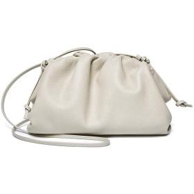 クロスボディショルダーバッグスモールバッグ女性大容量ファーストレイヤーレザークラウドバッグ2019 New Wild Trend Simple (Color : White)