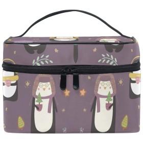 女性パープルペンギン音楽化粧品 バッグ オーガナイザー ジッパー メイク バッグ ポーチ トイレタリー ケース 女の子 女性用
