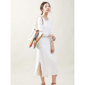 (カリテ) qualite ワンピース・ドレス コットンシルクリブニットワンピース レディース ホワイト Free