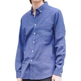 Platinum Biz シャツ メンズ 長袖 オックスフォード ビジネス カジュアル ワイシャツ ボタンダウン (XL, ネイビー)