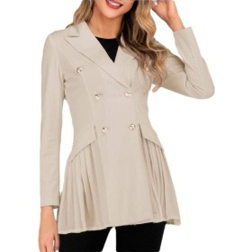 maweisong Women's Lapel Coat Solid Double Breasted Pleated Hem Slim Blazer Apricot S