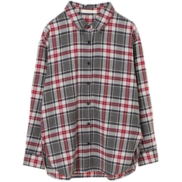 グリーンパークス Green Parks ネルチェックシャツ (Gray)