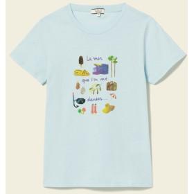 AIGLE レディース レディース リゾート柄プリントTシャツ ZTF3255 BLUE (002) Tシャツ