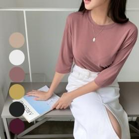 体型カバーに効く ヤリフィット·ラウンド·トリム·Tシャツ 6-color